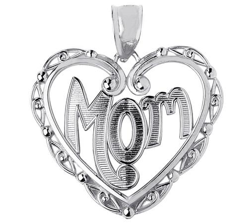 Mom Silver Fancy Pendant In Heart