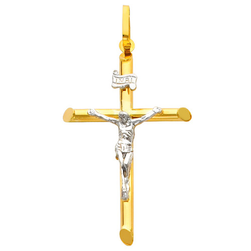 14K Gold Two-Tone Devotion Crucifix