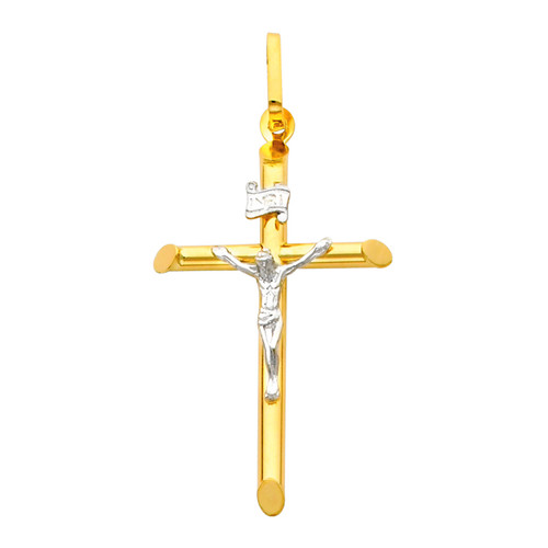 14K Gold Two-Tone Adored Crucifix
