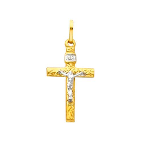 Graceful 14K Two Tone Crucifix
