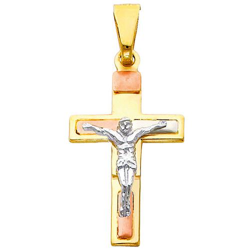 14K Tri-Color Gold Seraphic Crucifix