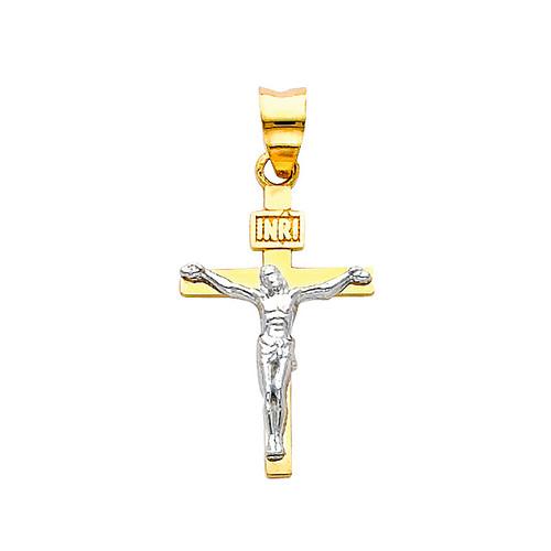 14K Two-Tone Gold Classic Crucifix