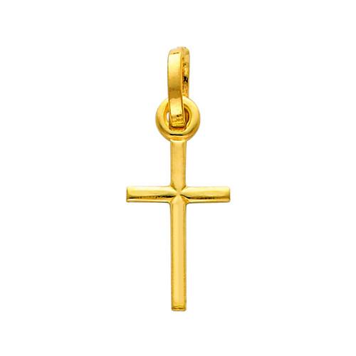14K Gold Graceful Cross Charm Pendant