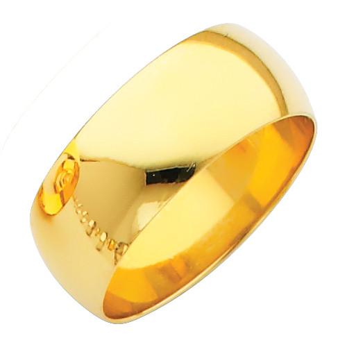 Polished Yellow Gold Classic Wedding Band - 8MM