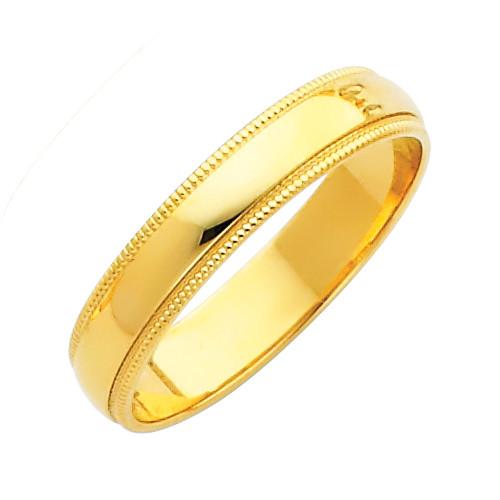 14K Gold Milgrain Classic Wedding Band 4MM