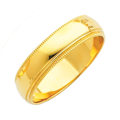 14K Milgrain Gold Classic Wedding Band - 5MM