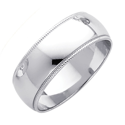 14K Milgrain White Gold Classic Wedding Band - 7MM