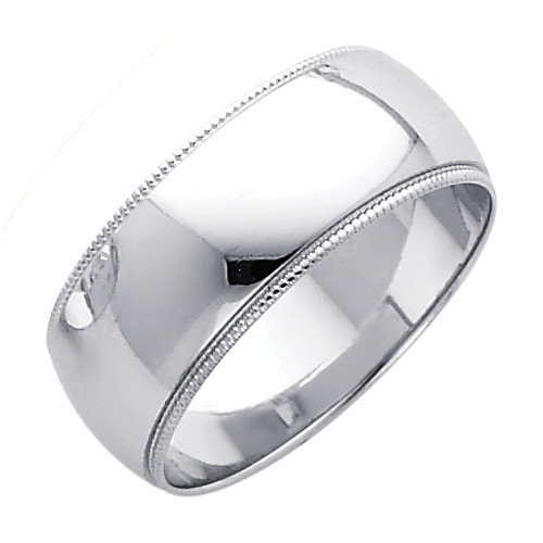 14K Milgrain White Gold Classic Wedding Band - 8MM