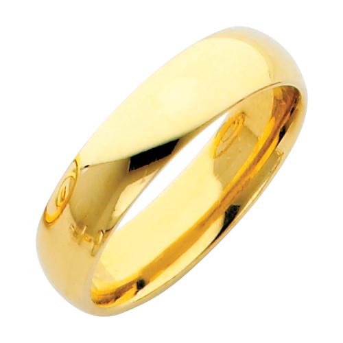 Polished Gold Classic Comfort Fit Wedding Band - 5MM