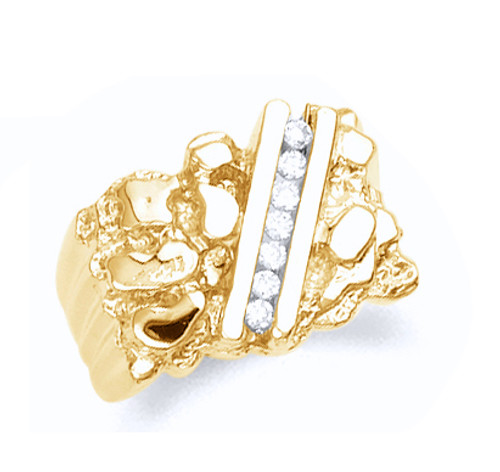 Men's gold nugget ring with cubic zirconia in 10k or 14k yellow gold.