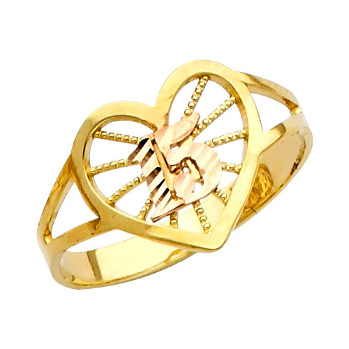 """""""15 Anos"""" Yellow Gold Ring"""