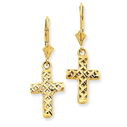 Diamond-Cut Cross Earrings