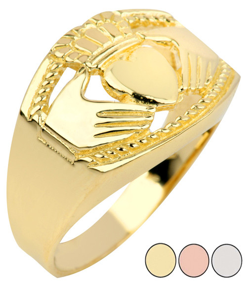 Bold Claddagh Mens Ring in Gold (Yellow/Rose/White)