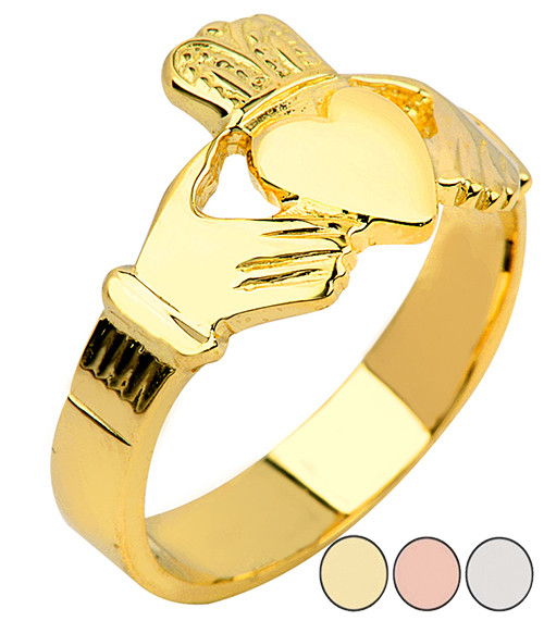 Solid Claddagh Mens Rings in Gold (Yellow/Rose/White)