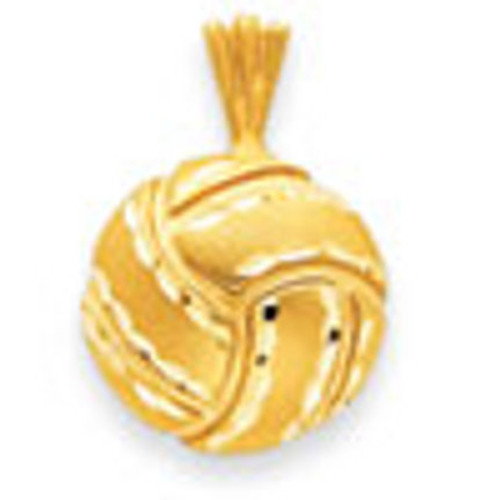 14K Gold Solid Satin & Diamond -Cut Volleyball Charm