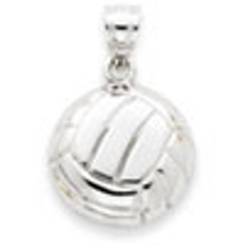 14K Gold Solid White Gold Satin & Diamond -Cut Volleyball Charm