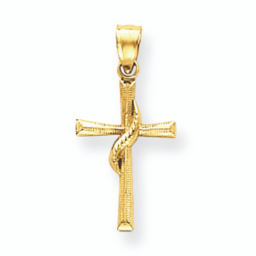 14K Gold Dainty Flame of the Holy Spirt Cross