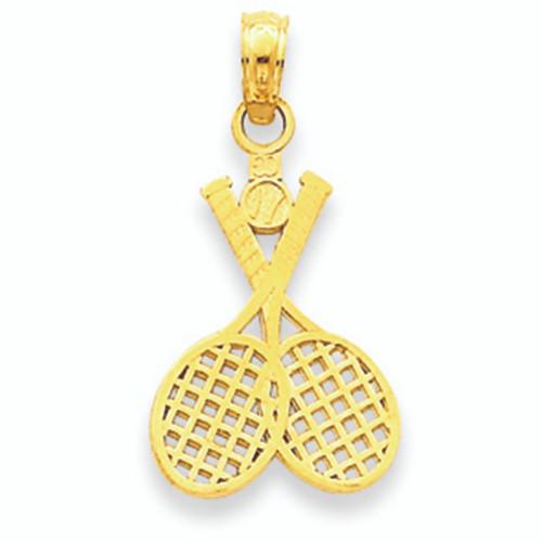 Yellow Gold Tennis Rackets Charm