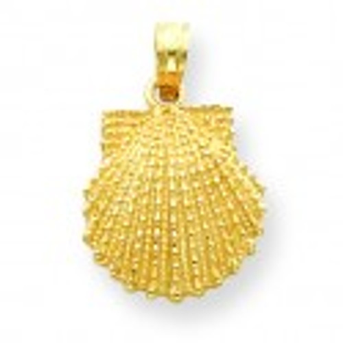 14K Gold Textured Scallop Shell Pendant
