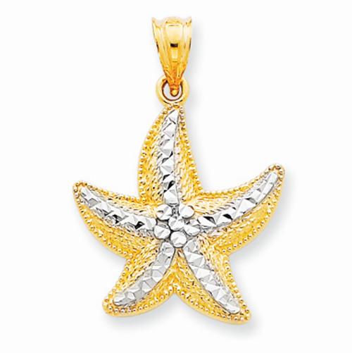 14K Gold Rhodium Starfish Pendant