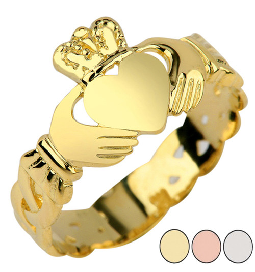 Ladies Claddagh Ring with Trinity Band in Gold (Yellow/Rose/White)