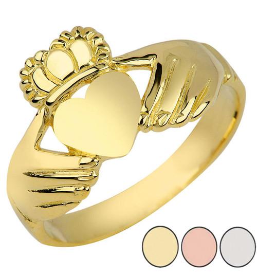Ladies Irish Claddagh Ring in Gold (Yellow/Rose/White)