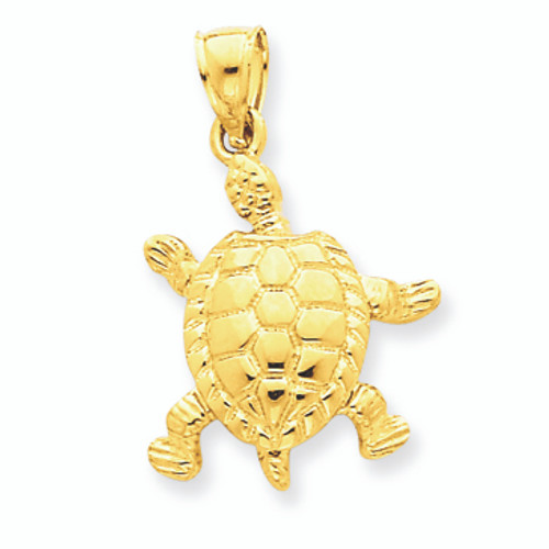 14K Gold Solid Polished Moveable Turtle Pendant