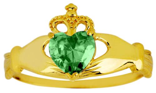May birthstone Emerald CZ Claddagh ring in gold.