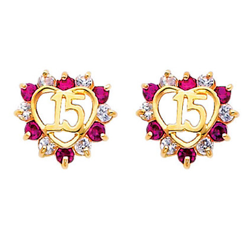 14K Gold Quinceanera Heart CZ and Ruby Stud Earrings