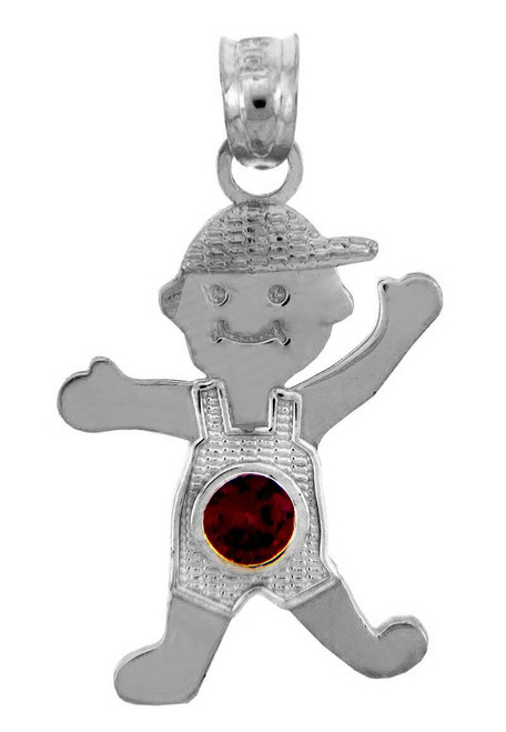 White Gold Baby Charm Pendant - Boy  Birthstone Charm with CZ Red Stone