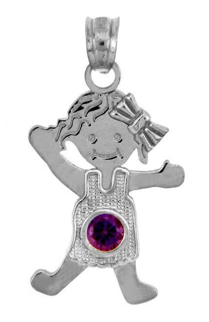 White Gold Baby Charm Pendant - CZ Amethyst Girl  Birthstone Charm
