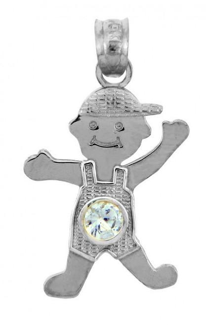 White Gold Baby Charms and Pendants - CZ Light Blue Gem Boy  Birthstone Charm