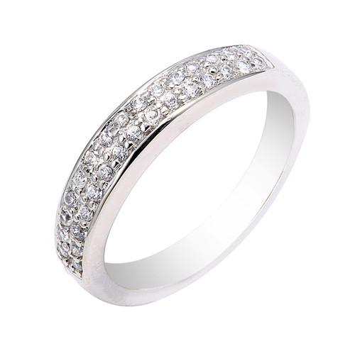 14K White Gold Diamond Wedding Band