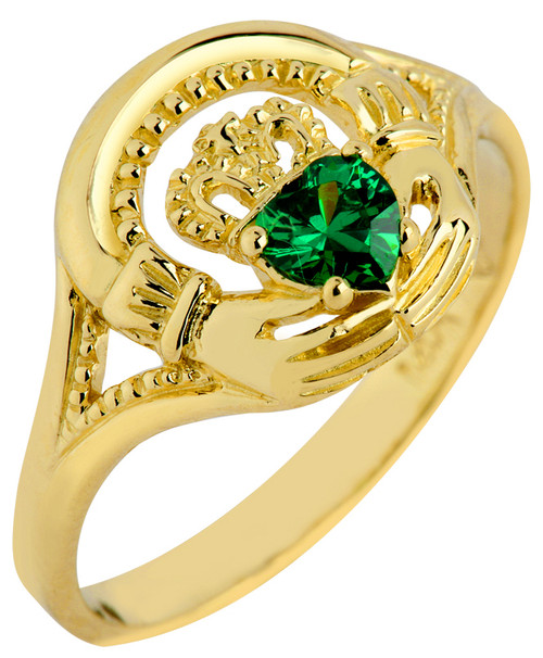 Gold Claddagh Ring with Emerald.  Available in 14k or 10k.