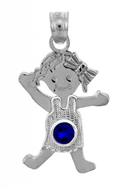 Silver Baby Charms and Pendants - CZ Blue Sapphire Girl Birthstone Charm