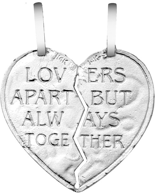 """White  Gold """"I LOVE YOU"""" Reversable  Breakable Heart Pendant"""