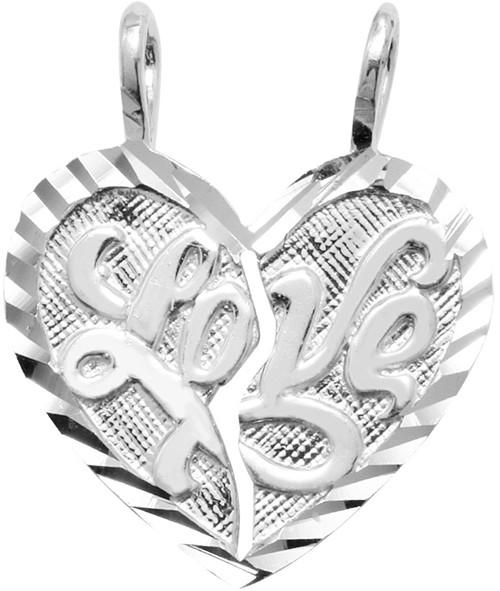 """White Gold """"LOVE """" Breakable Heart Pendant"""