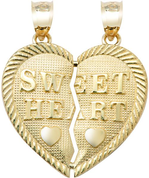"Yellow Gold  ""SWEET HEART"" Breakable  Hearts Pendant"