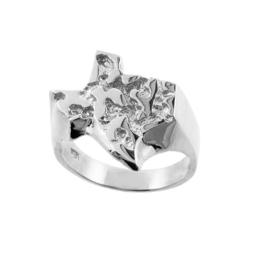 White Gold Large Texas Nugget Ring