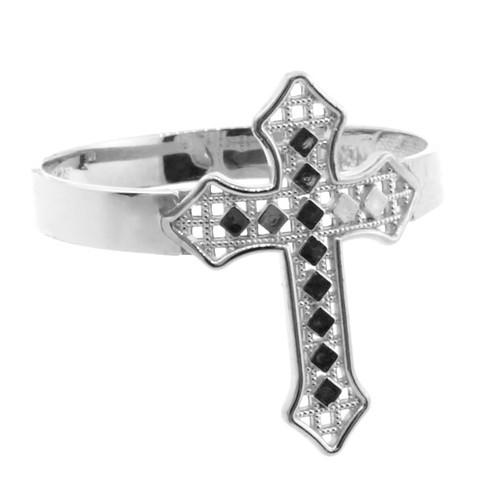 White Gold Aciculate Cross Ring