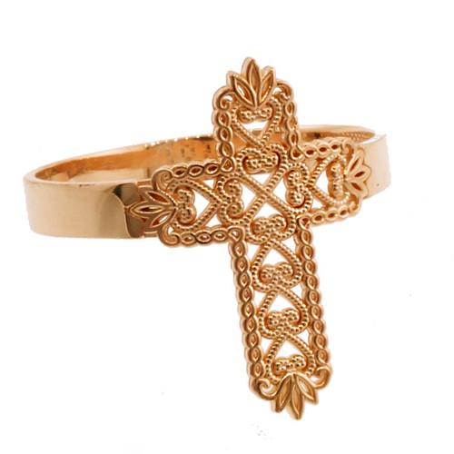 Rose Gold Thorned Filigree Cross Ring
