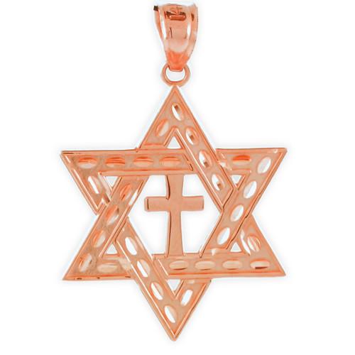 "Rose Gold Jewish Star of David Cross Pendant (M) 1.25"""