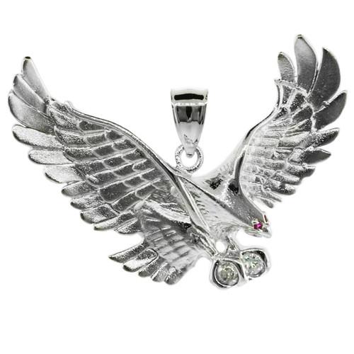 White Gold Eagle Pendant with CZ (Medium)