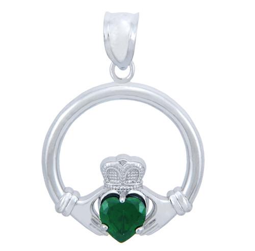 Silver Claddagh Emerald CZ Heart Pendant (L)