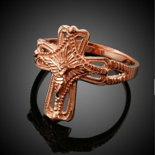 Rose Gold Crucifix Cross Ring