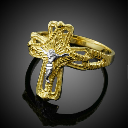 Two-Tone Gold Crucifix Cross Ring
