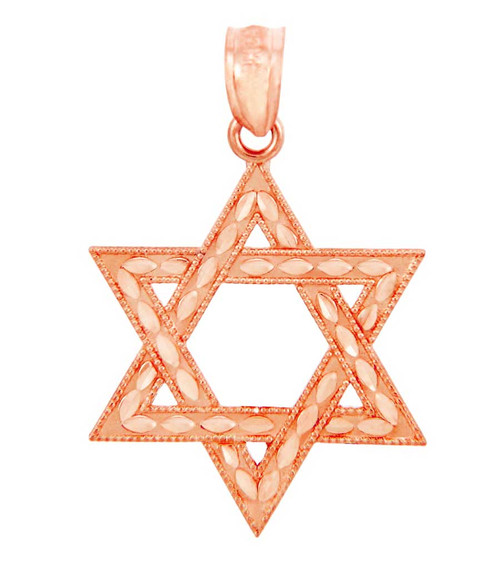 Rose Gold Jewish Star of David Charm Pendant (S) 1-inch