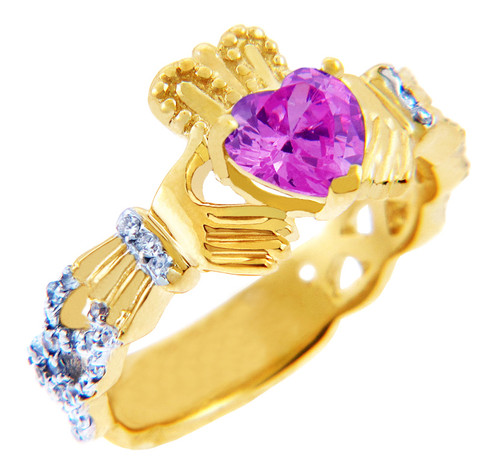 18K Yellow Gold Diamond Claddagh Ring with 0.4 Ct. Pink Tourmaline