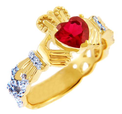 18K Yellow Gold Diamond Claddagh Ring With  0.4 Ct  Garnet