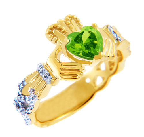 18K Yellow  Gold Diamond Claddagh Ring With 0.4 Ct Peridot